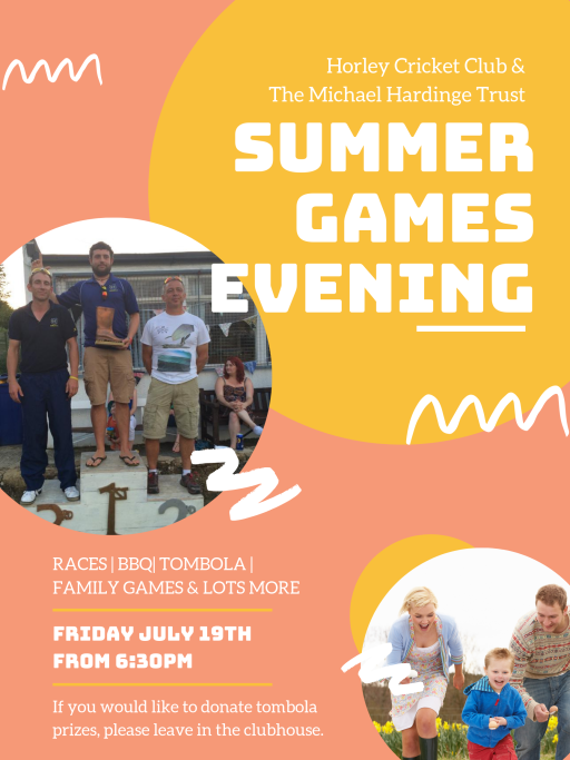 Summer Games Evening now Sunday 21st July 2pm